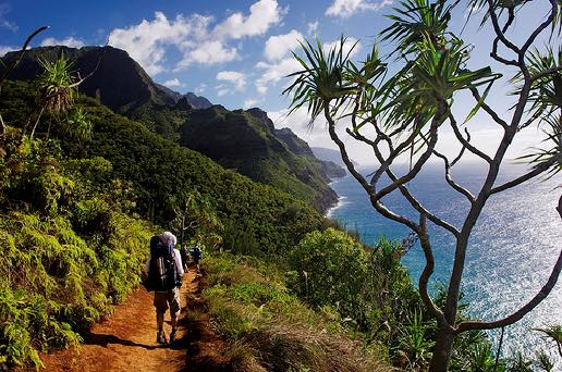 Kalalau Trail is an 22 mile trail that leads from Ke'e Beach to Kalalau Beach along the Na Pali Coast on the island of Kuai - Photo by Mauricio Puerto